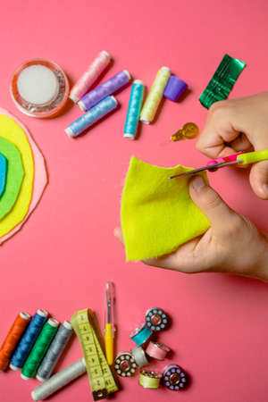 Kids choosing needlework as their spare time Stockfoto