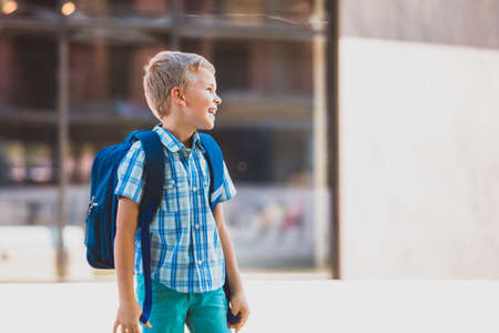 Cute boy going to school with backpack