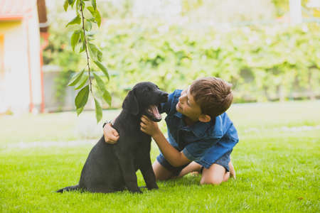 Faithful and long lasting friendship between child and dog
