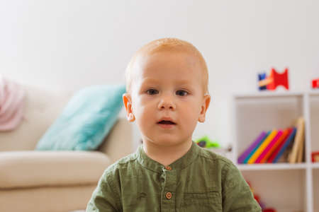 The toddler boy looking at camera in surprise