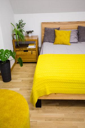 Trendy biophilic design in modern cosy bedroom