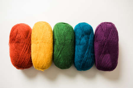 The bright cotton threads for knitting warm clothes