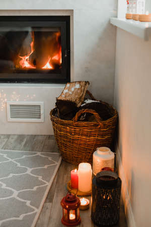 the comfortable living room with fireplace for the wintertime