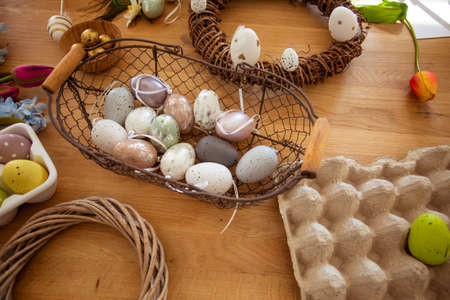 Top view decorating set for Easter wreaths