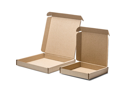 Two cardboard box on isolated white background. Parcel with empty space for your text. Pattern for delivery or post service.