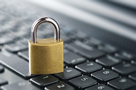 Padlock on computer keyboard. Network Security, data security and antivirus protection PC. 스톡 콘텐츠