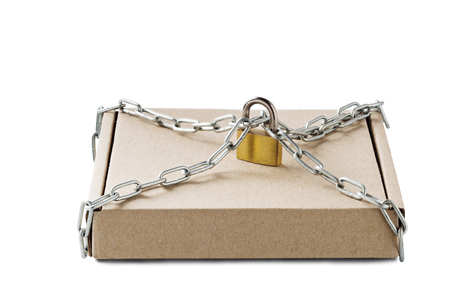 Kraft cardboard delivery boxes and padlock, chains on isolated white background. Pattern for delivery, post service. Protection of cargo and transportation.