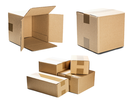 set piles of cardboard boxes on isolated white background. Parcel with empty space for your text. Pattern for delivery or post service.