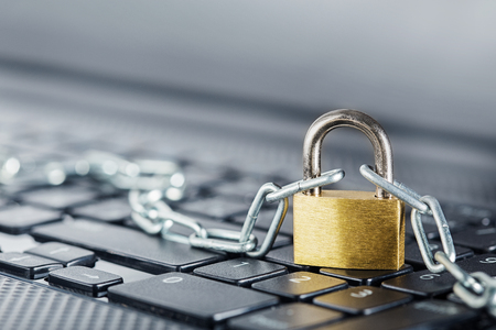 Padlock on computer keyboard. Network Security, data security and antivirus protection PC. Stock Photo