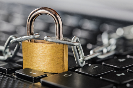 Padlock on computer keyboard. Network Security, data security and antivirus protection PC. Banco de Imagens