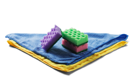 sponges for cleaning,rag napkin, rubber gloves on white isolated white background. Items for cleaning the house. The idea of hygiene, safety and cleanliness. 스톡 콘텐츠