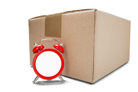 delivery card boxes and red clock without dial on isolated white background with shadows. Concept of on time cargo and post delivery. Idea for on schedule mail delivery and post service.