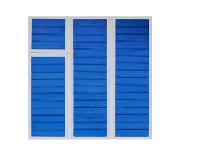 The old window is painted blue. Isolated on white background.For designers.