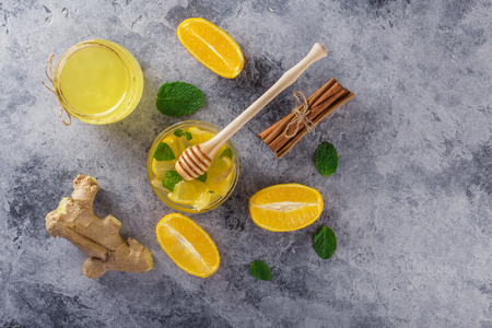 Cinnamon.Honey.Ginger. Lemon.Image of stone texture. An interesting background with a fascinating texture