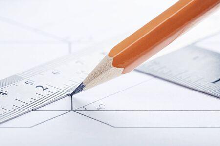 Zeichnungsdetail, Zeichnungswerkzeuge und Konstruktionsschema. Design und Architektur. Standard-Bild
