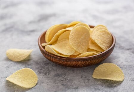 Potato chips  close up. Concept of fast food and snacks.