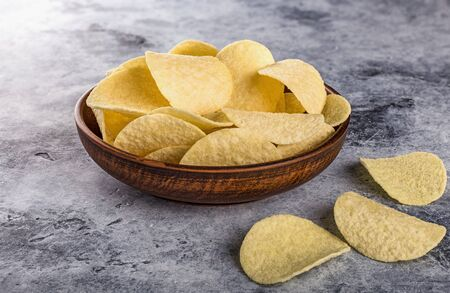 Potato chips. Concept of fast food and snacks. Stockfoto