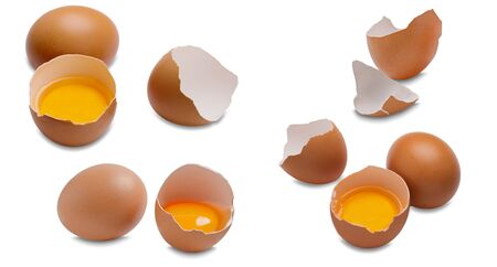 Egological eggs on a white background.Chicken eggs. Useful product - a lot of calcium and protein. Imagens