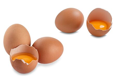 Chicken eggs. Useful product - a lot of calcium and protein.Ecological eggs on a white background.