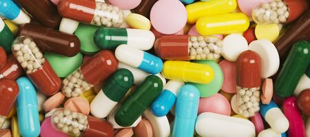 Heap of medical pills . Images for the pharmaceutical industry. The concept of medicine.