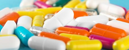 Business in the pharmaceutical industry.Medical pills and capsules.