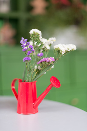 red watering can on a white table