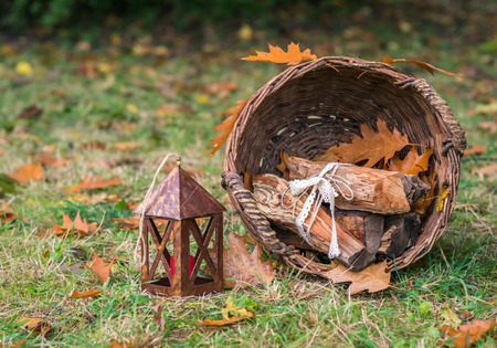 still life with a basket of logs on the grass in the garden in autumn Stock Photo
