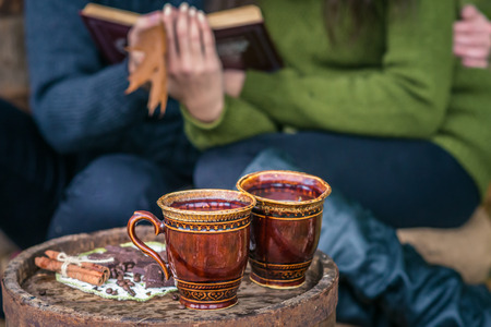 still life with two cups of coffee on the old oak barrel autumn Stock Photo