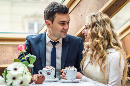 newly married couple in cafe Stock Photo