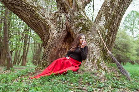 mystical witch woman Stock Photo