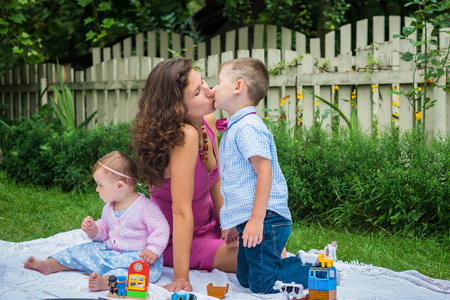 Happy mother and two children Stock Photo