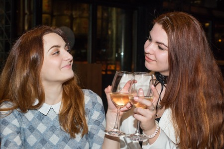 Two female friends drinking wine Stock Photo