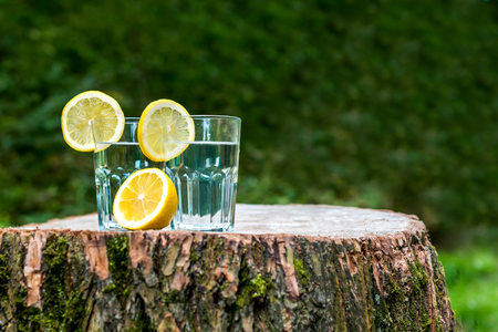 The slices of lemon on a two glasses of water Stock Photo