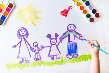 Pitture a mano di Childs schizzo della famiglia