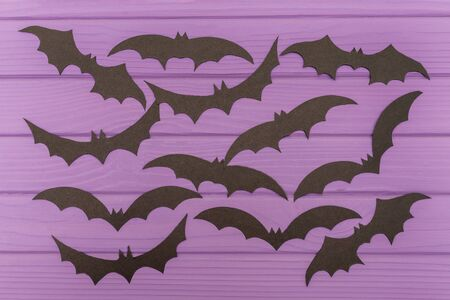 night out: The bats halloween silhouettes cut out of paper Stock Photo