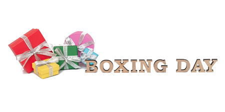 boxing day: The colored boxes with words BOXING DAY, isolated on white Stock Photo