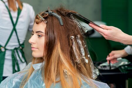 Young woman receiving dyeing her hair by beautician in hair salon.