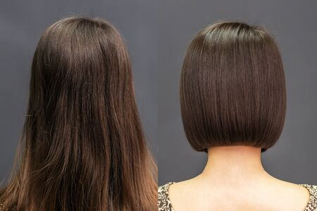Rear view of hair before and after haircut.