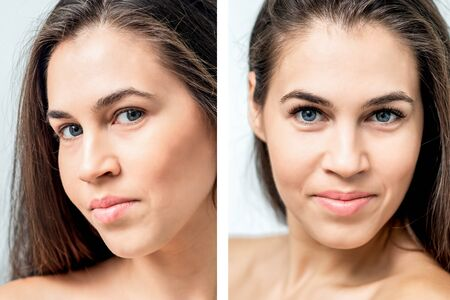 Portrait of woman with comparison her eyes before and after eyelash extension. Banque d'images