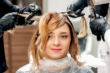 Hands of hairdresser dyeing hair of young woman in hairdress studio. Imagens