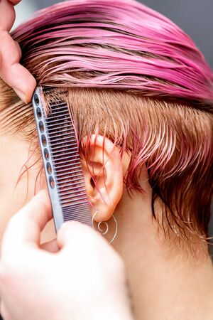 Close up of hands of hairdresser combing pink hair of young woman.