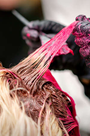 Close up shot of hair stylist dying hair of woman with pink dye in hair salon