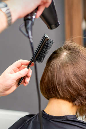 Hairdresser dries brown hair of the young woman in a beauty salon