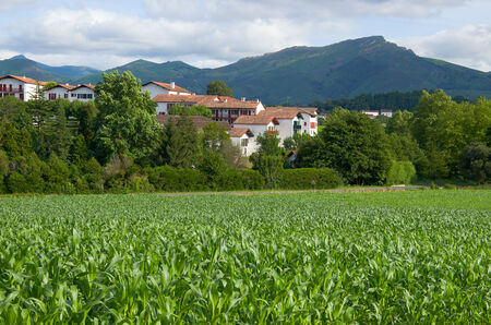 pays: There are a green field, white houses of the Basque town and remote dark mouintains