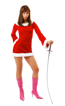 rapier: Serious Santa is propping up on a rapier  She is wearing a red velvety dress with white fluff and pink boots high-heeled