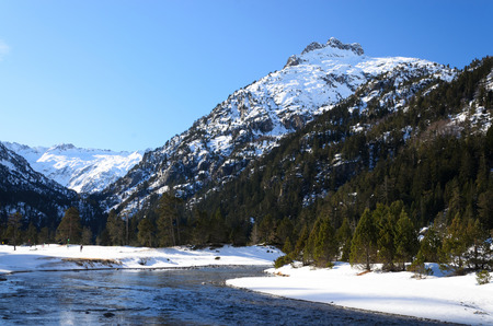 gave: Marcadau valley is a favorite place for cross-country skiing and snow shoeing at both sides of Gave Marcadau in the Pyrenees National Park.