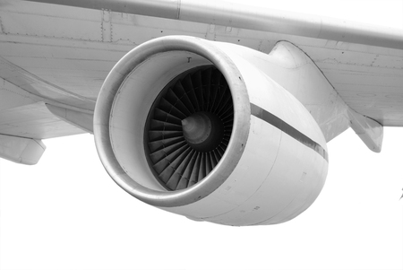 turbojet: Turbo-jet engine under the white wing of large airplane