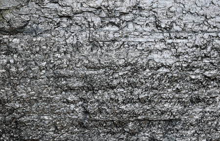 bituminous coal: Shiny lump of coal is photographed close-up  Black coal surface is cracked and chapped  Stock Photo