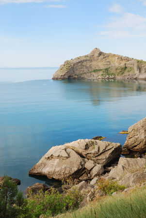 crimean: The pointed cape juts far into the Black Sea  This headland together with cape Hoba-Kaya have formed the Blue bay of Novij Svet