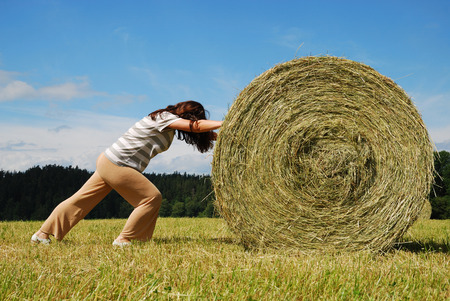 utmost: Young woman is pushing on with the big straw bale  She is doing utmost against the country landscape with field gathered  Stock Photo